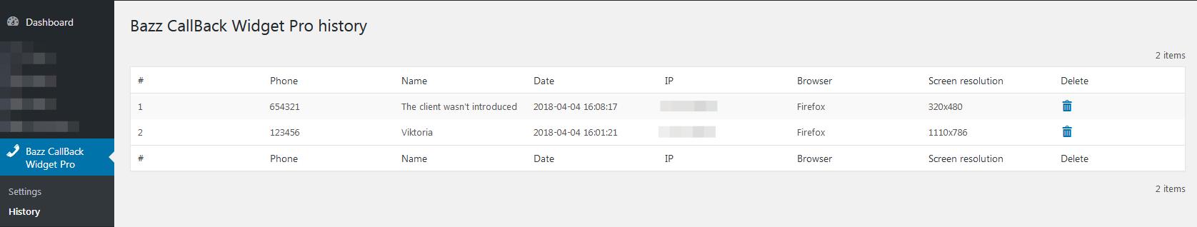Bazz CallBack widget Pro (wordpress) - 4