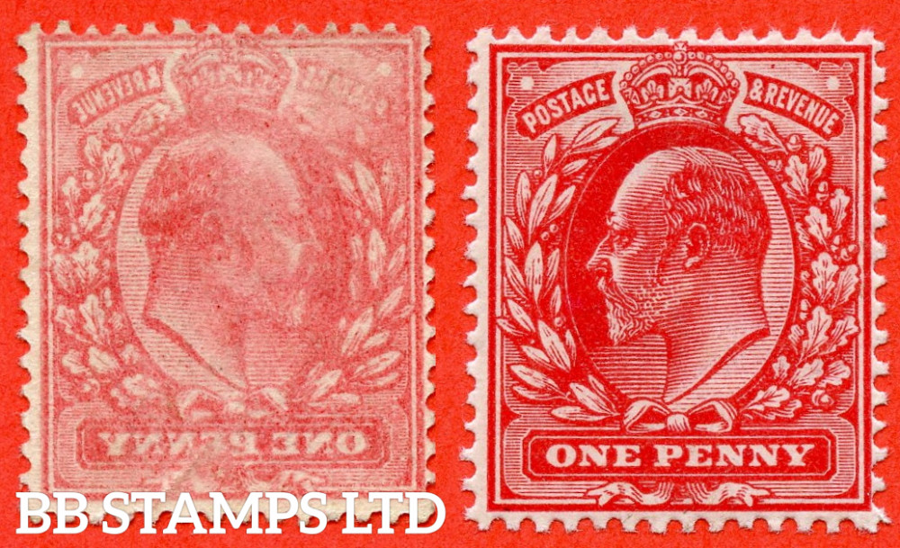 """SG. 219. M5 (1). 1d Scarlet. A FANTASTIC UNMOUNTED MINT complete """" OFFSET """" ERROR example. Complete with normal for comparison."""