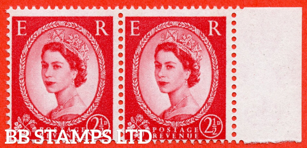 SG. 614 variety S66a. 2½d Carmine Red Type II (2 Bands ) Blue Phosphor Band. Typo. White Paper ( Letterpress as per SG specialised volume 3. Edition 13 ). A super UNMOUNTED MINT right hand marginal pair complete with RPS certificate.