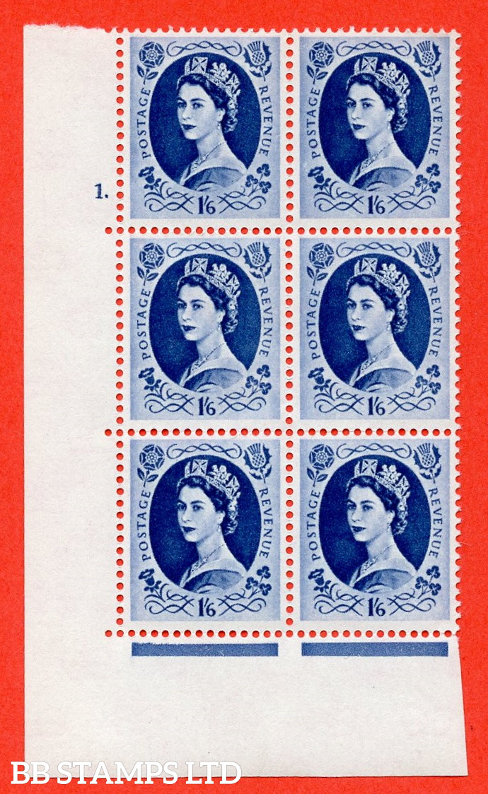"""SG. 586. S153. 1s 6d. Grey-blue. A superb UNMOUNTED MINT """" cylinder 1 dot """" control block of 6 with perf type A E/I. WHITE paper. Includes variety S153a white flaw in Queens hair"""