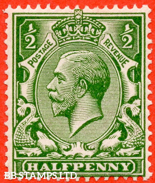 SG. 354 variety N14 (UNLISTED). ½d Very Deep Yellow Green. A very fine UNMOUNTED MINT example of this known but unlisted by SG George V shade variety. Complete with HENDON certificate.
