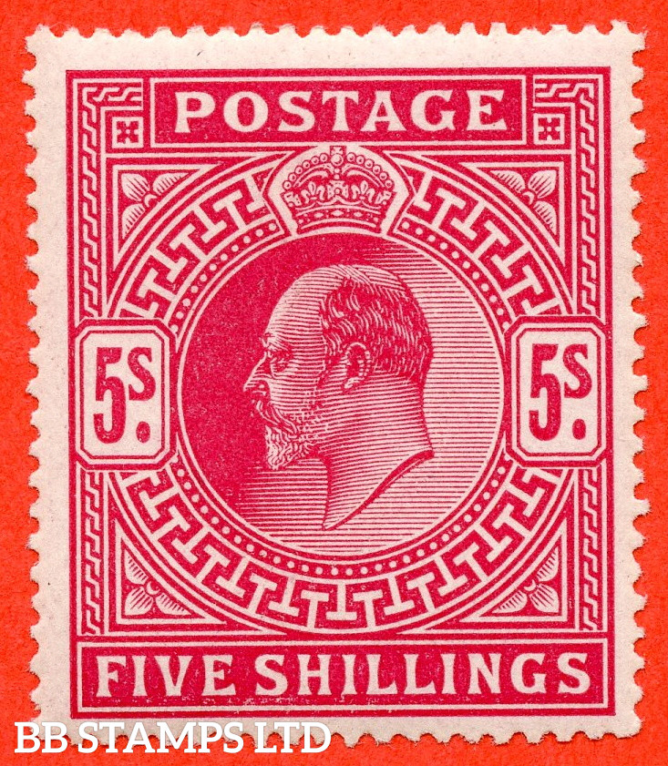 SG. 263. M51 (1). 5/- Bright Carmine. A fine UNMOUNTED MINT example of this classic Edwardian high value..