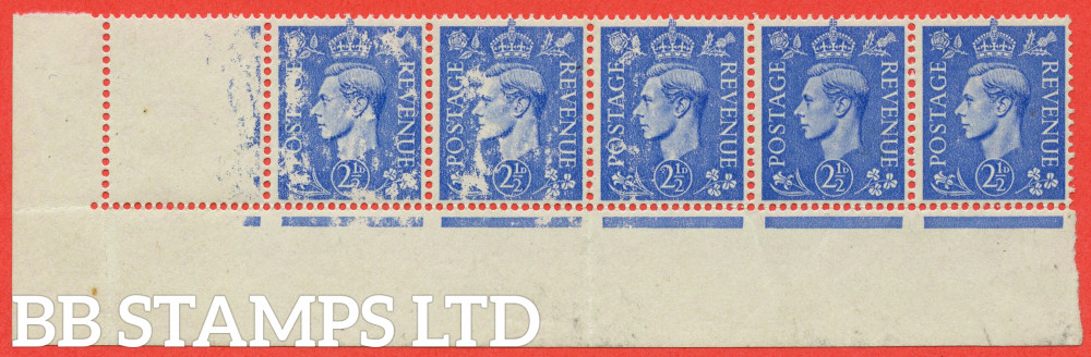 """SG. 489. Q14. 2½d ultramarine. A very fine UNMOUNTED MINT ( mounted in the margin only ) bottom left hand corner marginal strip of 6 with a SUPERB """" dry print """" error. A very visual error."""