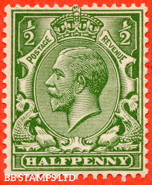 SG. 355 variety N14 (UNLISTED). ½d Bright Olive Green. A fine UNMOUNTED MINT example of this known but unlisted by SG. George V shade variety complete with HENDON certificate.
