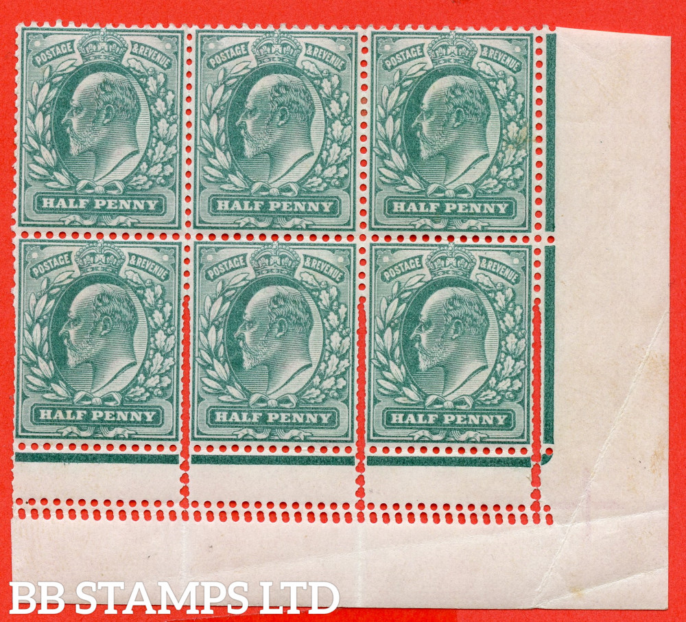"""SG. 215. M1 (1). ½d dull blue green. A fine mounted mint control bottom right hand corner marginal block of 6 showing a superb example of the """" EXTRA BEATS OF THE PERFORATION COMB """" variety. A lovely ERROR."""