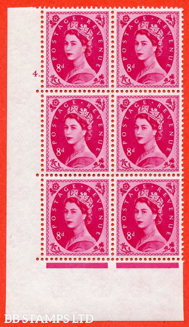 """SG. 581. S122. 8d Magenta. A superb UNMOUNTED MINT """" cylinder 4 dot """" control block of 6 with perf type A E/I. WHITE paper."""