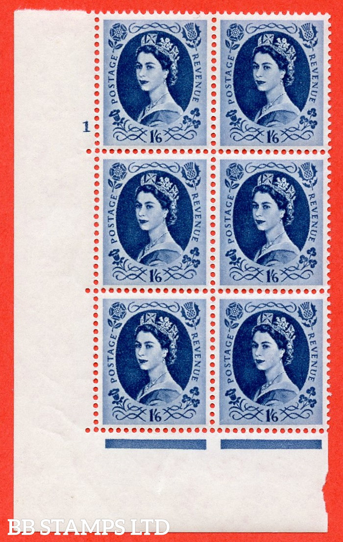 """SG. 586. S153. 1s 6d. Grey-blue. A superb UNMOUNTED MINT """" cylinder 1 no dot """" control block of 6 with perf type A E/I. WHITE paper. Includes variety S153a white flaw in Queens hair"""