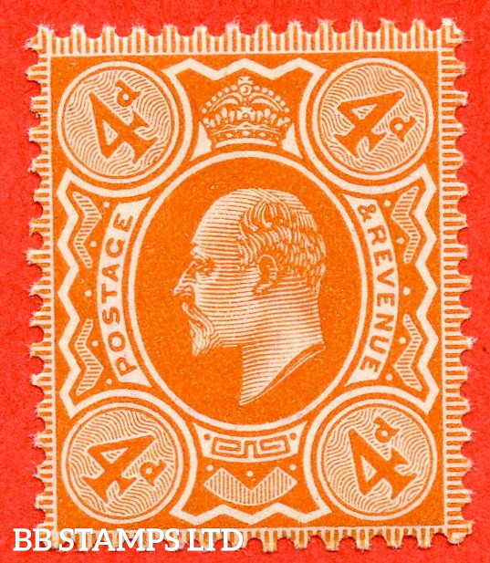 SG. 239. M25 (1). 4d Brown - Orange. A very fine UNMOUNTED MINT example complete with HENDON certificate.