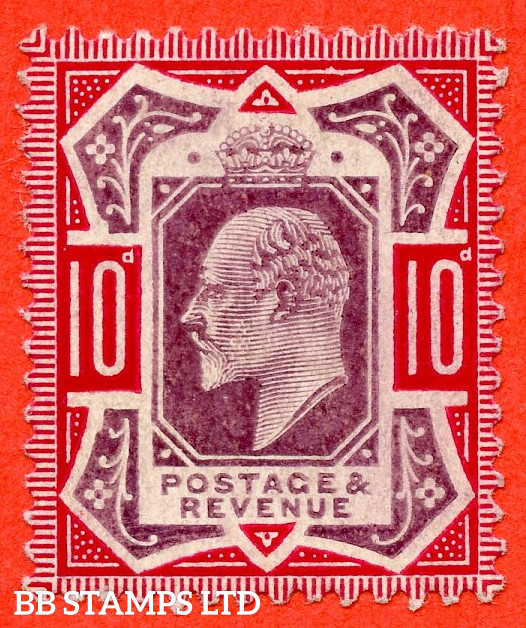 """SG. 255a. M43 (2) b. 10d slate purple & carmine ©. """" No Cross on Crown. A Superb UNMOUNTED MINT example."""