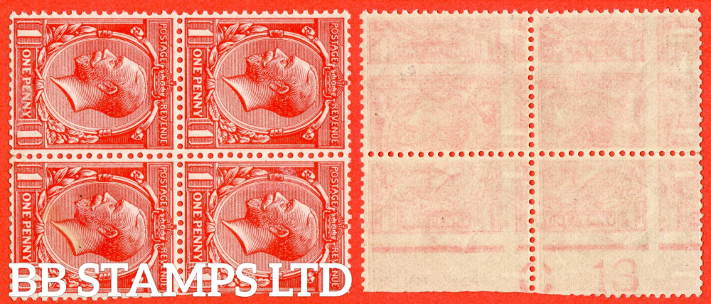 """SG. 361a variety N16 (3) f. 1d Scarlet. PRINTED ON THE BACK ERROR. A superb mint control """" C13 """" block of 4. This being the UNIQUE control block."""