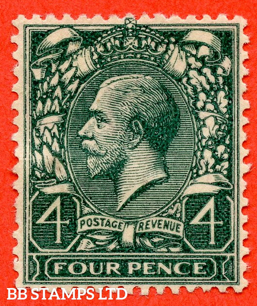 """SG. 424a. N39 (2) b.4d Grey Green. Printed on the """" GUMMED SIDE """". A super mounted mint example of this rare George V ERROR variety. INVERTED & REVERSED watermark as usual. A RARE stamp these days."""