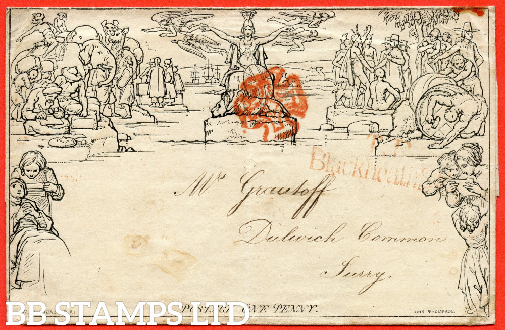 """SG. ME1. 1d Mulready lettersheet. Stereo """" A19 """". A very fine used example from LONDON to DULWICH COMMON dated 24th August 1840. Cancelled by a fine RED maltese cross."""