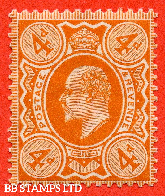 SG. 239. M25 (1). 4d Brown - Orange. A fine mounted mint example complete with RPS certificate.