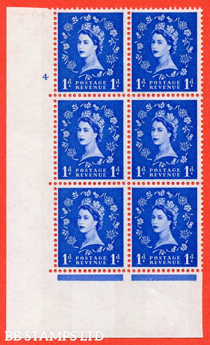 """SG.611. S22. 1d Ultramarine. A superb UNMOUNTED MINT """" cylinder 4 no dot """" control block of 6 with perf type A (E/I). Blue Phosphor White paper."""