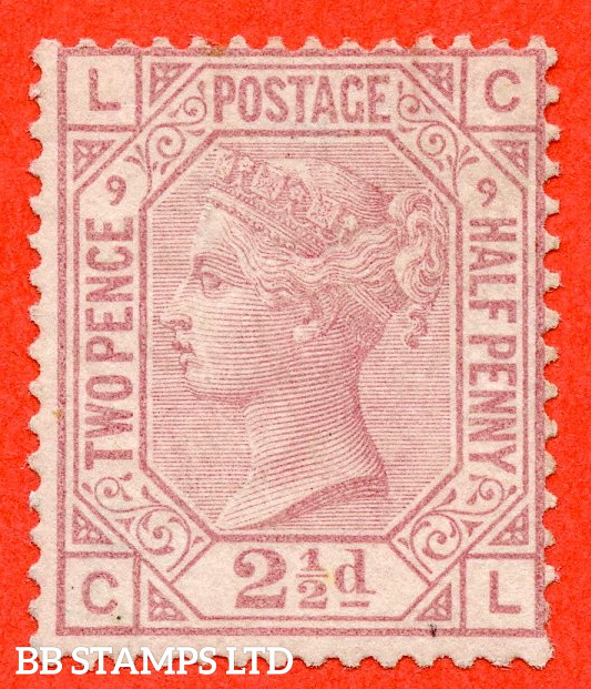 """SG. 141. J10. """" CL """". 2½d rosy mauve. Plate 9. A fine UNMOUNTED MINT example."""
