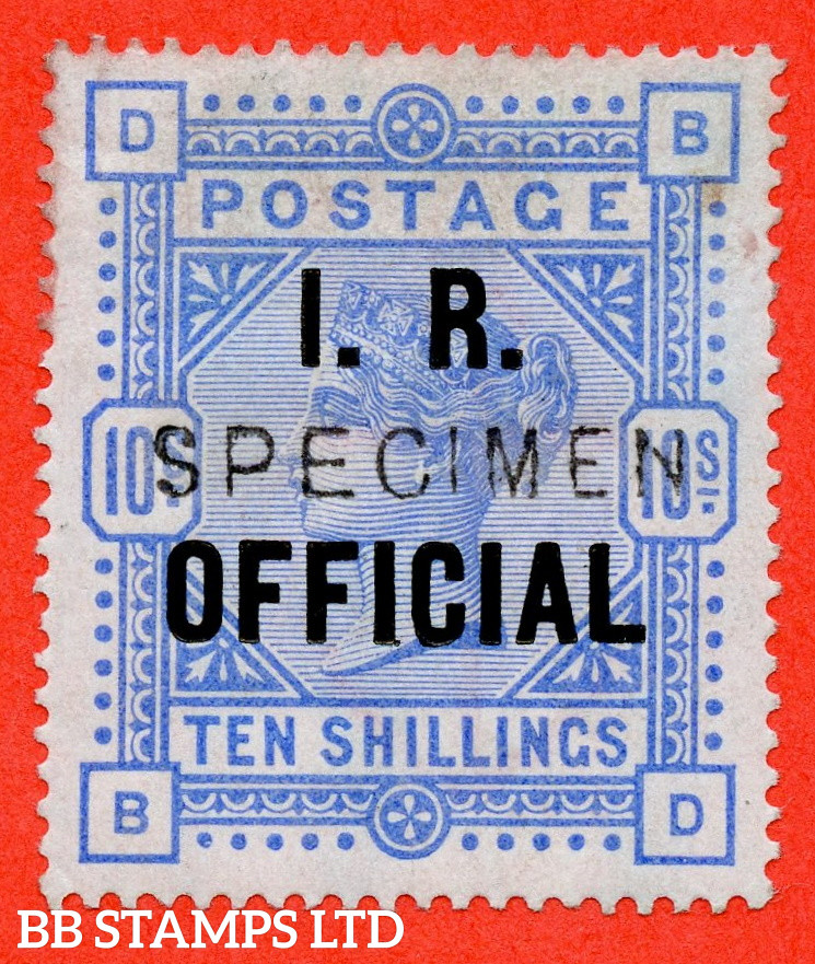 """SG. O10s. L8 (4) s. """" BD """". 10/- Ultramarine. A fine lightly mounted mint example overprinted SPECIMEN type 11. Complete with RPS certificate."""