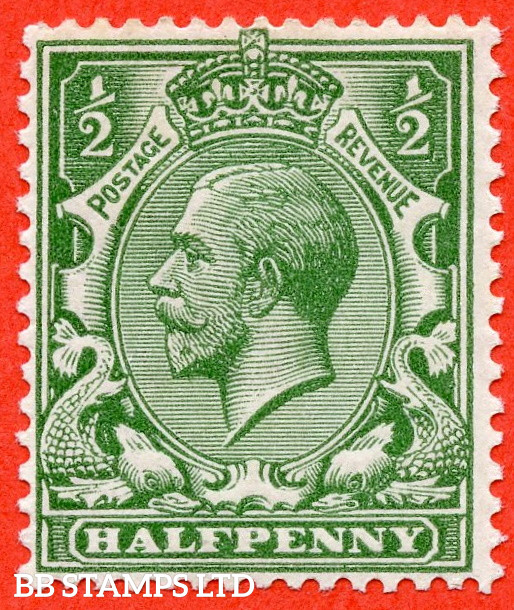 SG. 351 variety N14 (UNLISTED). ½d Dull Green. A very fine UNMOUNTED MINT example of this known but unlisted by SG George V shade variety. Complete with HENDON certificate.