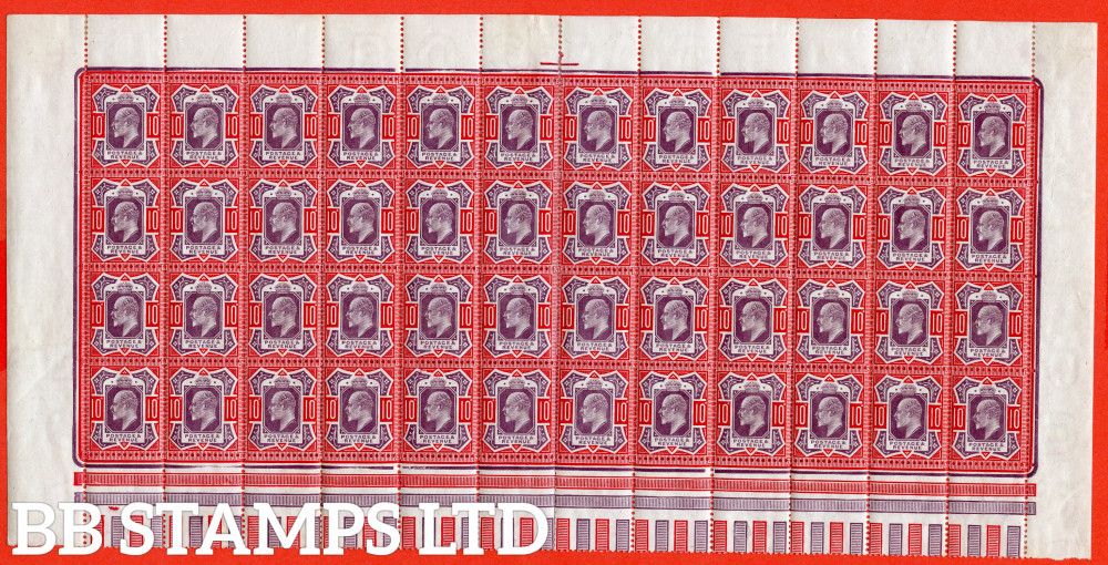 """SG. 256 / 256a. M43 (5) d. 10d Dull Purple & Scarlet ©. A Superb mint complete pane of 48 ( 42 stamps UNMOUNTED MINT ). Containing 2 examples of the """" No Cross On Crown """". A RARE block these days."""
