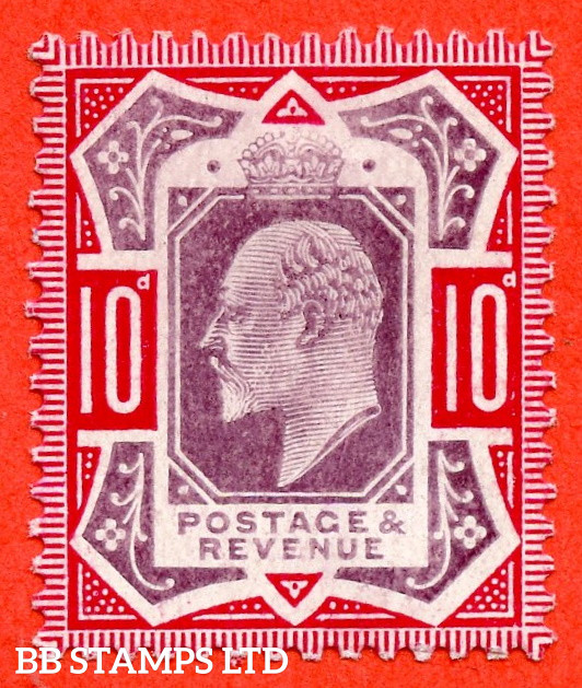 SG. 254ba. M43 (1) b. 10d Dull Purple & Carmine ©. NO CROSS ON CROWN. A super UNMOUNTED MINT example.