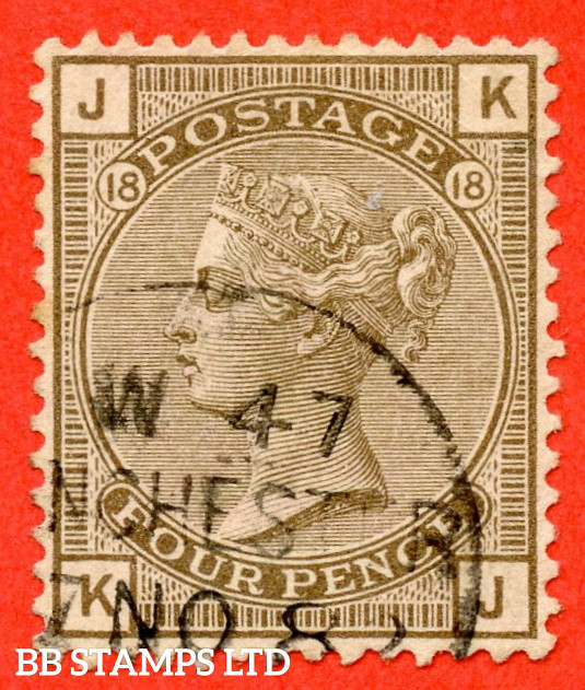 """SG. 160. J69.  """" KJ """". 4d Grey - Brown plate 18. A fine """" 8th November MANCHESTER """" CDS used example."""