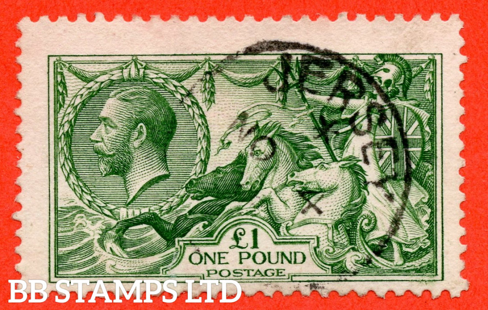 """SG. 403. N72 (1). £1.00 Green. A fine """" 4th November JERSEY """" CDS used example."""