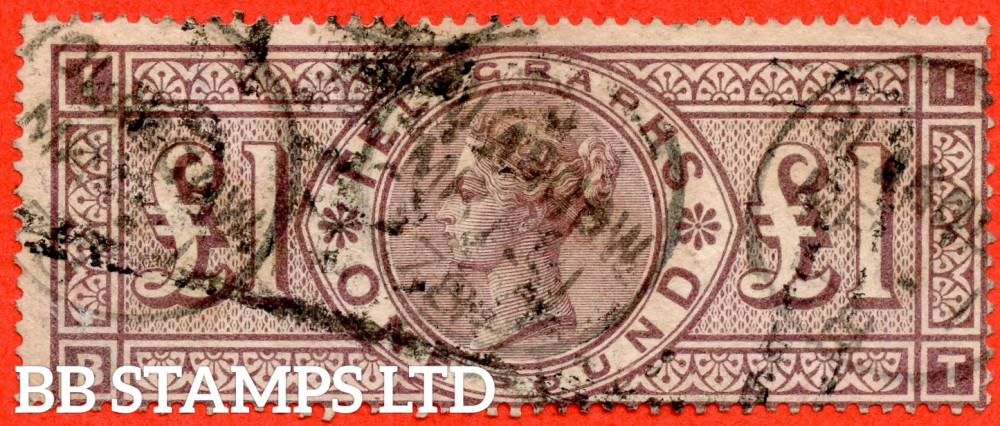 """SG. T17. L236. 1877 £1.00 Telegraph. """" BT """". Plate 1. £1.00 Brown - Lilac. A good """" March 1878 GLASGOW """" CDS used example of this difficult Victorian Telegraph issue."""