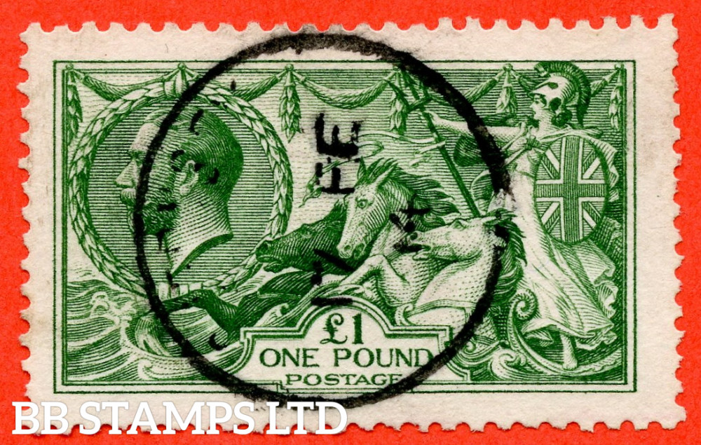 """SG. 403. N72 (1). £1.00 Green. A very fine """" 17th February 1914 GUERNSEY """" CDS used example."""