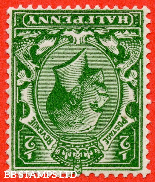 SG. 353 wi variety N14 (5) c. ½d Very Deep Green. INVERTED WATERMARK. A superb UNMOUNTED MINT example complete with HENDON certificate.
