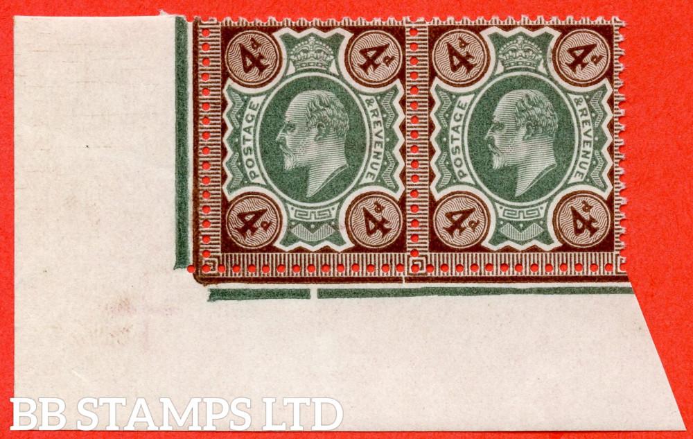 SG. 236. M23 (3). 4d Green & Chocolate Brown. A superb UNMOUNTED MINT bottom left hand corner marginal horizontal pair.
