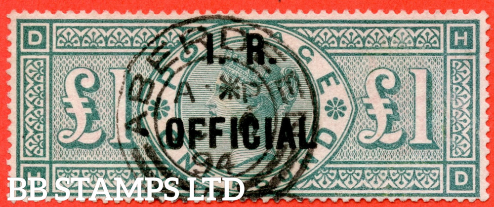 """SG. O16. L11. """" HD """". £1.00 Green. I.R. Official. A SUPER upright """" 1894 ABERDEEN """" CDS used example complete with WENVOE certificate."""