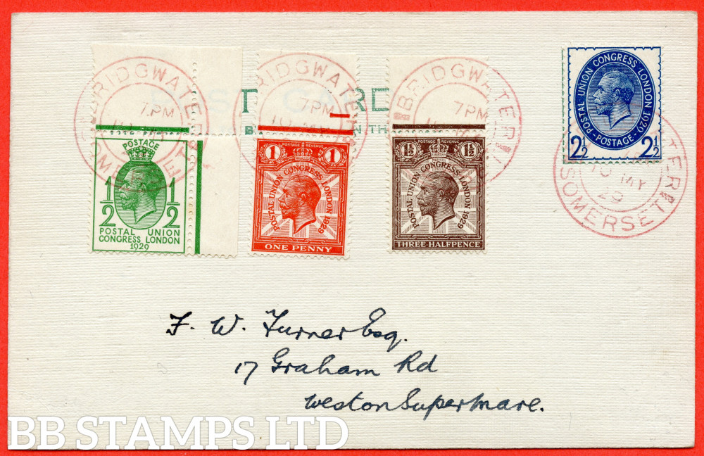 """SG. 434 - 437. NCom5 - Ncom 8. ½d - 2½d. 1929 Postal Union Congress. A very fine FIRST DAY COVER cancelled by a fine """" 10th May 1929 BRIDGWATER SOMERSET """" CDS."""