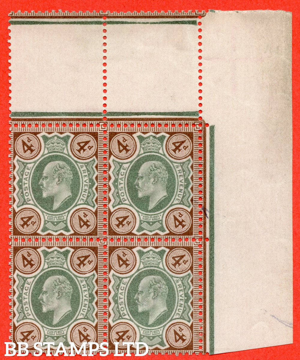 SG. 235 variety M23 (2). 4d Green & Brown. A superb UNMOUNTED MINT ( mounted in the margin only ) top right hand interpanneau corner marginal block of 4.