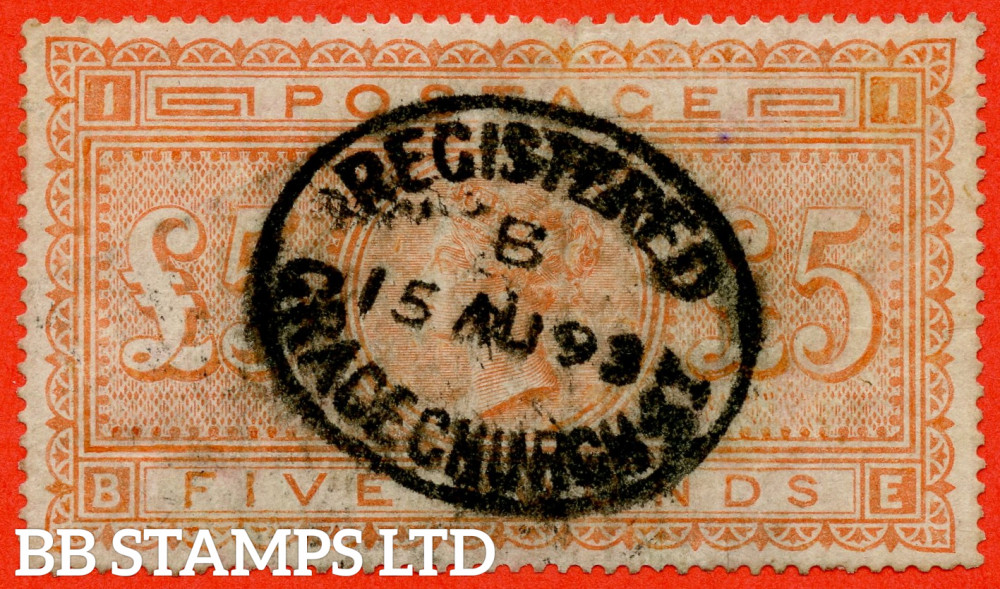 """SG. 137. J128a. """" BE """". £5.00 Orange. An """" 15th August 1893 BELFAST """" oval registered average used example with minor faults."""