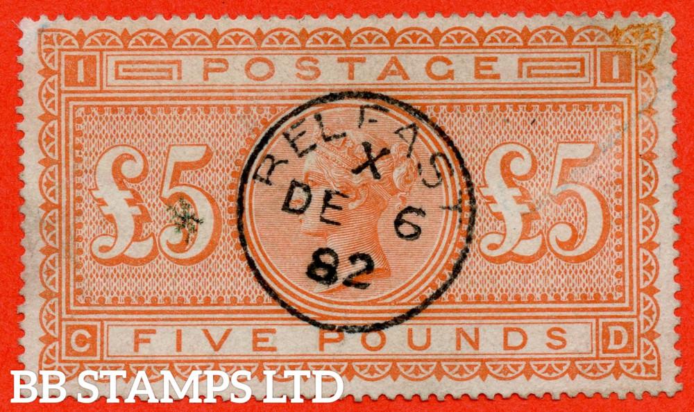 "SG. 137. J128a. "" CD "". £5.00 Orange. A fine "" 6th December 1882 BELFAST "" CDS used example."