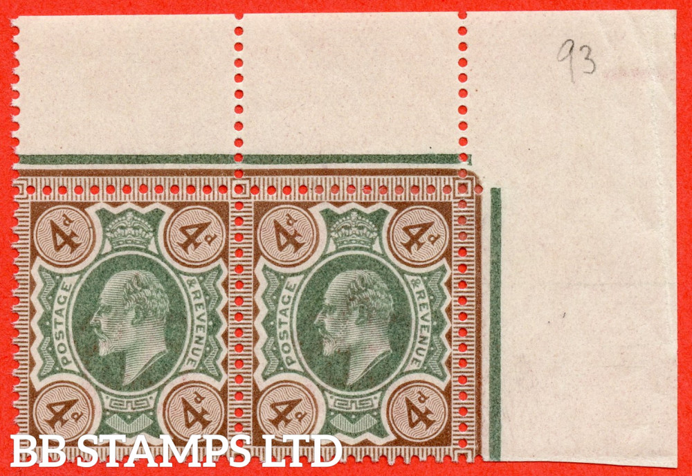 SG. 235. M23 (1). 4d Green & Grey Brown. A very fine mounted ( 1 stamp UNMOUNTED MINT ) mint top right hand corner marginal horizontal pair.