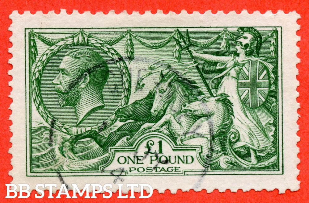 """SG. 403. N72 (1). £1.00 Green. A very fine """" July 1914 GUERNSEY """" CDS used example."""