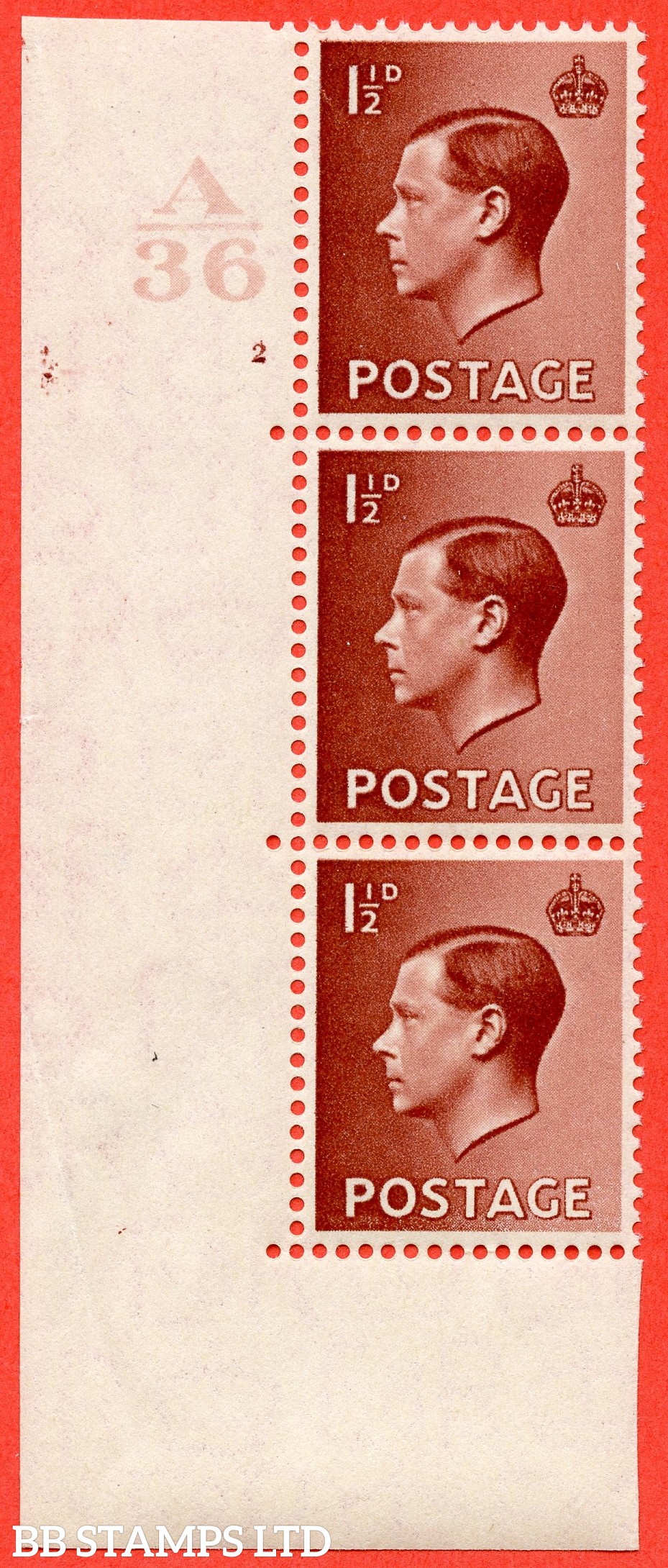 """SG. 459. P3 b. 1½d Red - Brown. A fine UNMOUNTED MINT ( mounted in the margin only ) """" Control  A36 cylinder 2 no dot """"  control strip of 3 with perf type 5 E/I. with listed variety """" hair flaw """" row 18/1."""