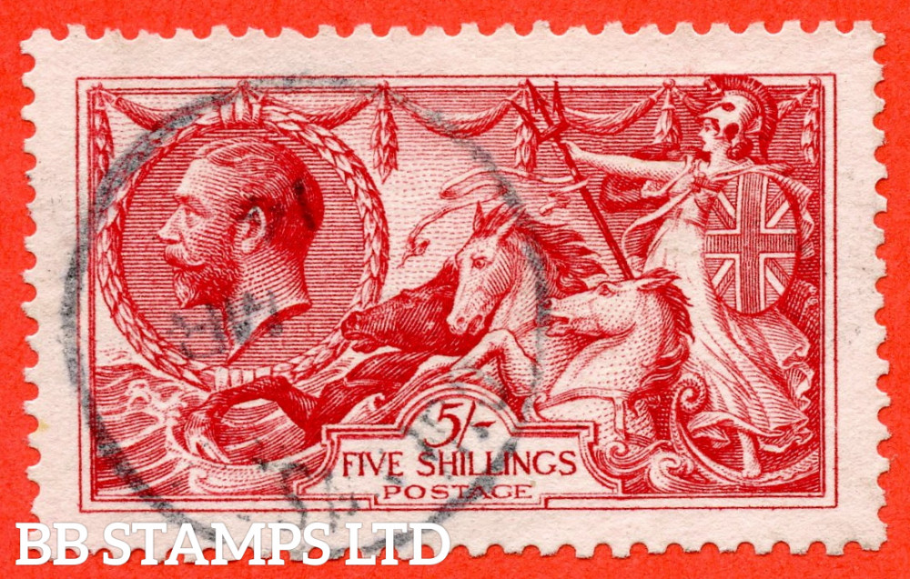 """SG. 401. N66 (1). 5/- Rose - Carmine. A very fine """" March 1914 GUERNSEY """" CDS used example."""