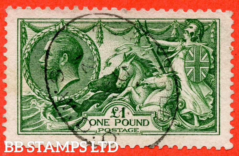 SG. 403 variety N72 (2). £1.00 Deep Green. A fine used example of this beautiful George V high value.