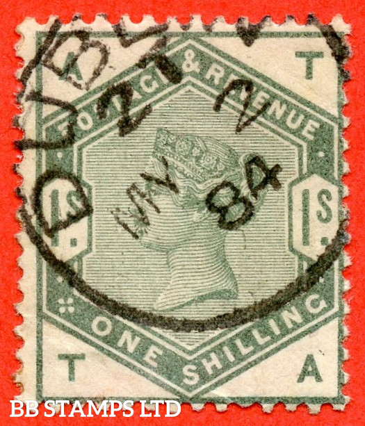 """SG. 196. K26. """" TA """". 1/- Dull Green. A very fine """" 2nd may 1884 DUBLIN """" CDS used example of this difficult Victorian stamp."""