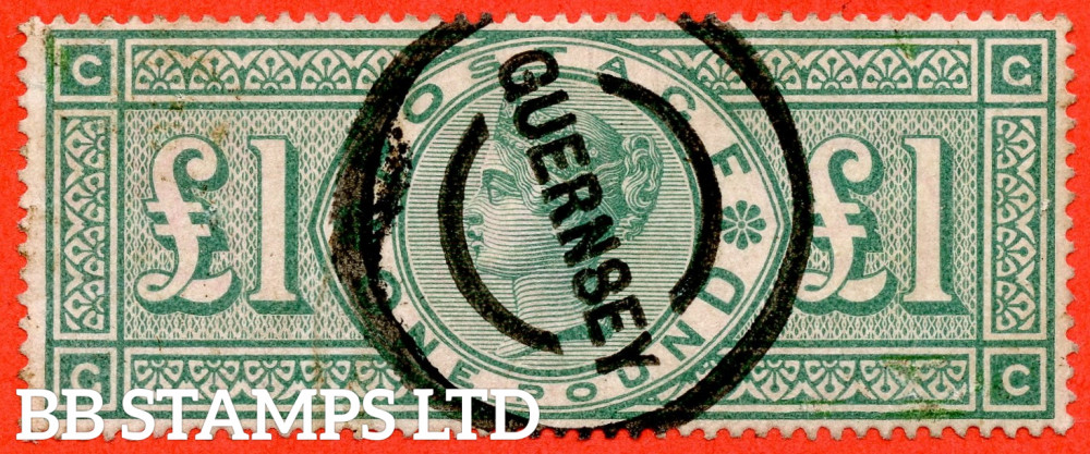 """SG. 212. K17. £1.00 Green """" GC """". A good """" GUERNSEY """" CDS used example."""