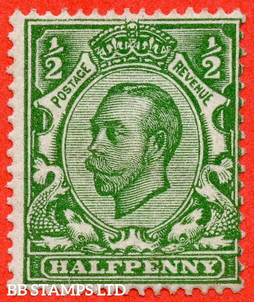 """SG. 344a. N5 (1) e. ½d Green. Die 2. """" NO CROSS ON CROWN """". A fine mounted mint example of this scarce George V variety."""