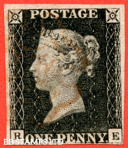 """SG. 2. A1 (2). AS5 g. """" RE """". 1d Black. Plate 1b. A fine used example with the listed """" Burr rubs to ' ONE PEN ' of ' ONE PENNY ' with ' NE ' of ' ONE ' nearly joined """" variety. Also """" Ray Flaws 10 / 7 NW square """" variety."""