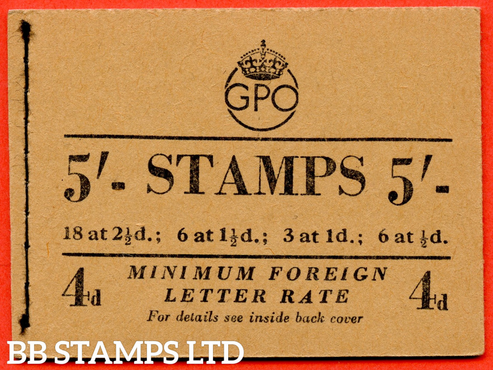 """SG. BD31 (1). 5/- A very fine complete George VI Booklet containing stamps in changed colours. Post Office notice in the lower of 1d pane """"Minimum Inland Printed Paper Rate 1½d."""" 17mm Format. Issued in March 1952. Type 26 buff cover."""