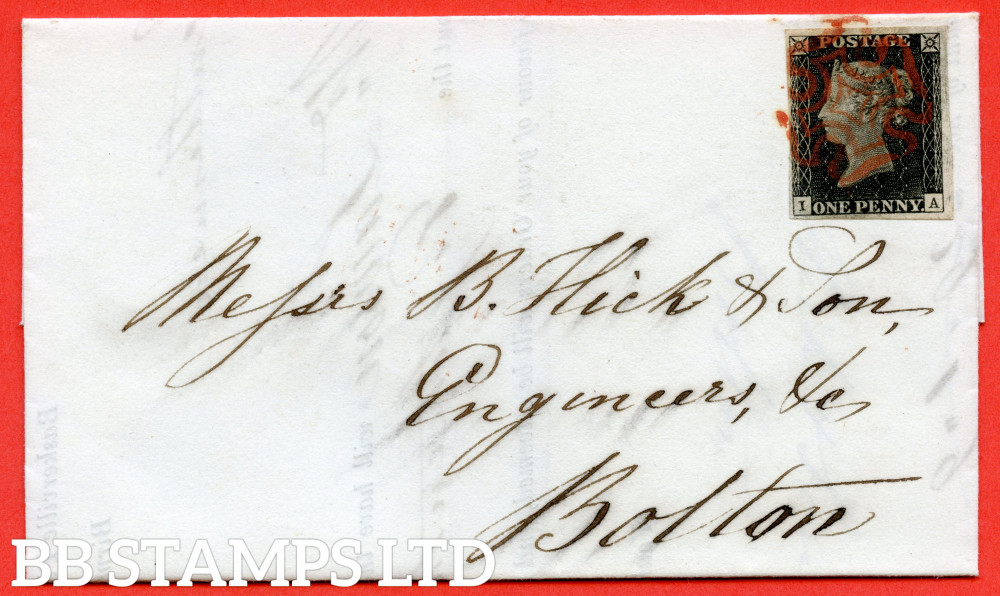 """SG. 2 c. A1 (2) h . AS14 f. """" IA """". 1d Black. Plate 2. A very fine used example on cover from MANCHESTER to BOLTON. With the  listed """" No ray flaws and vertical guide line NE square """" varieties."""