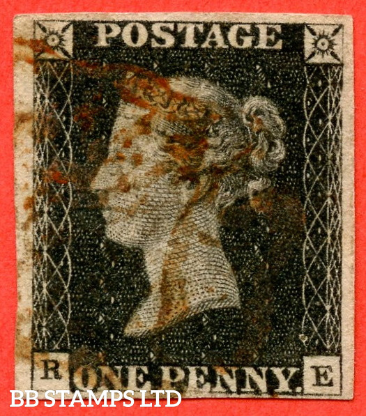 """SG. 2. A1 (2). AS5 g. """" RE """". 1d Black. Plate 1b. A good used example with the listed """" Burr rubs to ' ONE PEN ' of ' ONE PENNY ' with ' NE ' of ' ONE ' nearly joined """" variety. Also """" Ray Flaws 10 / 7 NW square """" variety."""