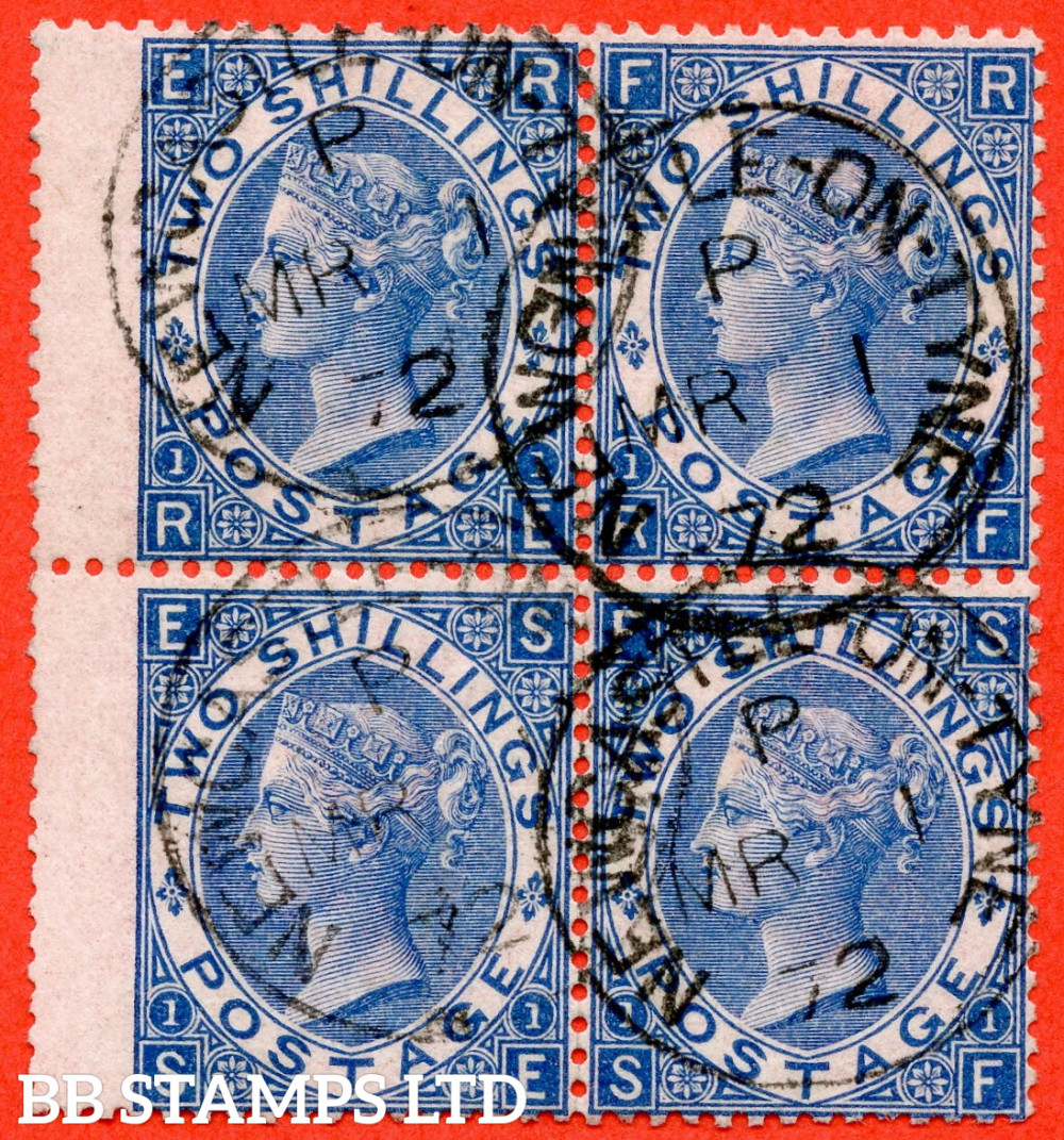 """SG. 119. J118 (2). """" RE RF SE SF """" 2/- Deep - Blue plate 1. A very fine """" 1st March 1872 NEWCASTLE ON TYNE """" CDS used block of 4. A scarce multiple this fine."""