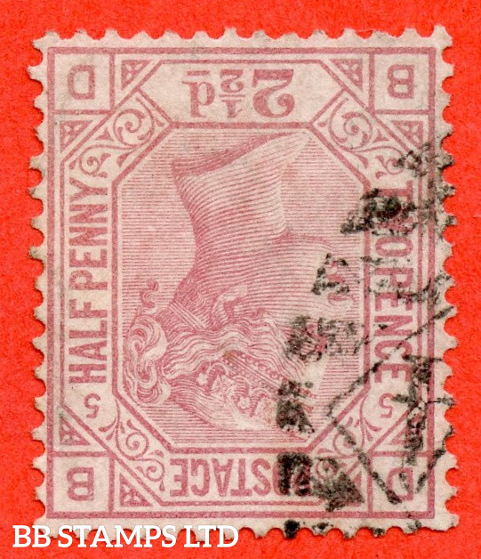 """SG. 141wi. J6 a. """" BD """". 2½d Rosy Mauve. Plate 16. INVERTED WATERMARK. A very fine used example."""