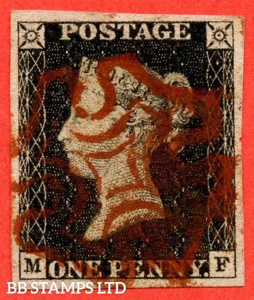 """SG. 1 b. A1 (1) g. AS1 d . """" MF """". 1d Intense Black ( early impression ). Plate 1A. A very fine used example with the listed variety """" Double letter ' M ' """". Also """" Ray flaws 10 / 5 NW square and vertical guide line NE square extending above """" varieties."""