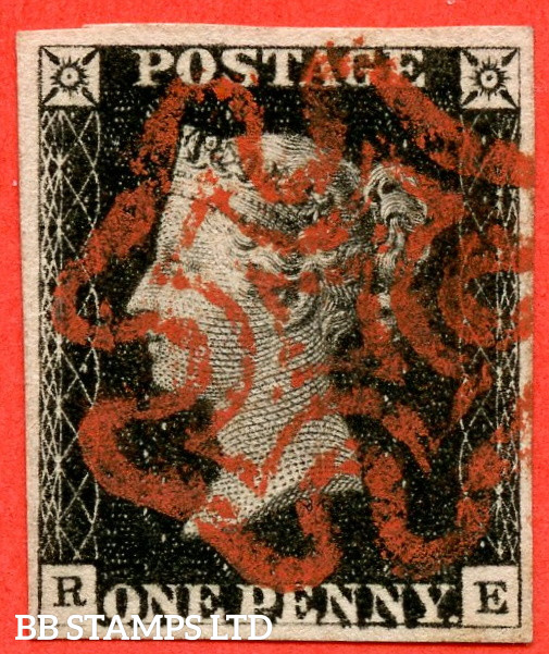 """SG. 2. A1 (2). AS5 g. """" RE """". 1d Black. Plate 1b. A very fine used example with the listed """" Burr rubs to ' ONE PEN ' of ' ONE PENNY ' with ' NE ' of ' ONE ' nearly joined """" variety. Also """" Ray Flaws 10 / 7 NW square """" variety."""